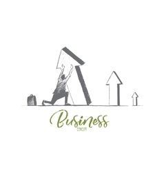 Hand drawn businessman business concept lettering vector image