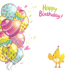 Happy Birthday background with bird and balloons vector image