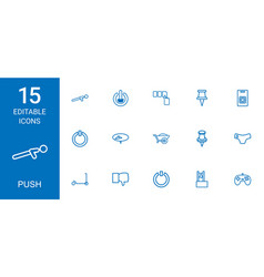 15 push icons vector