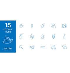 15 water icons vector