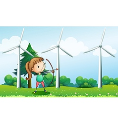 a girl with an archer near windmills vector image