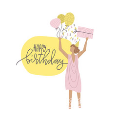 a girl with gift in her hands and balloons happy vector image