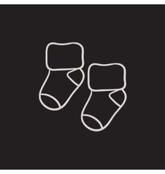 Baby socks sketch icon vector image