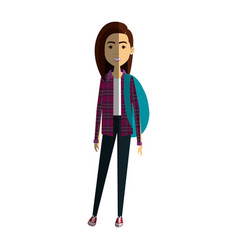 Beautiful and young woman student with schoolbag vector