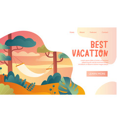 best vacation web page travel template vector image