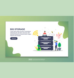 big storage concept with tiny people character vector image