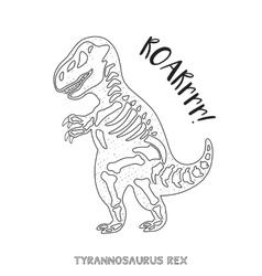 Black and white line art with dinosaur skeleton vector image