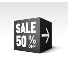 Black cube banner template for holiday sale event vector