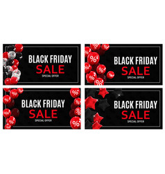 Black friday sale banner template collection set vector