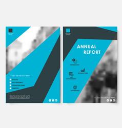 blue square annual report cover design template vector image