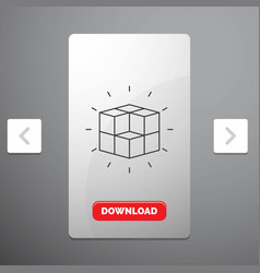 Box labyrinth puzzle solution cube line icon in vector