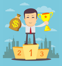 businessman holding winner cup and money vector image