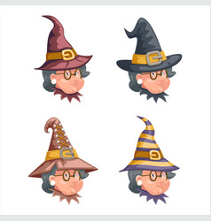 cartoon witch with granny characters set design vector image