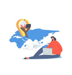 characters remote working concept telework and vector image