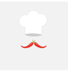 Chef hat and big red hot pepper mustache Isolated vector image