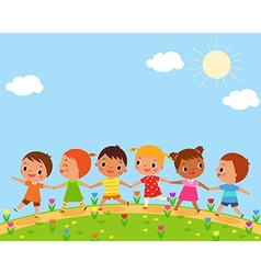 Children walk on a beautiful spring day vector