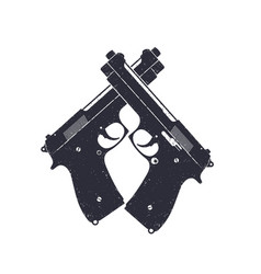 crossed modern pistols guns on white vector image