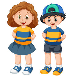 Cute boy and girl character vector
