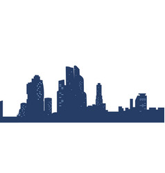 dark blue silhouettes city with light windows vector image
