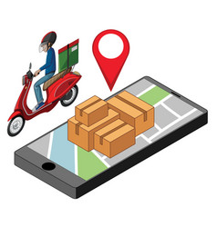 Delivery man with pin locate on smartphone vector