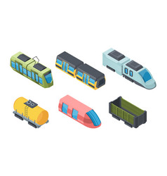 different trains isometric 3d vector image