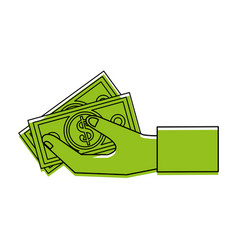 Dollar bill in businessman hand money icon image vector