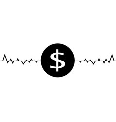 dollar one line drawing vector image