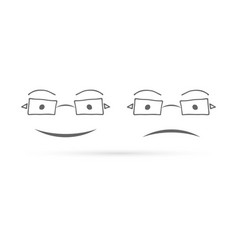 doodle glasses icon kids hand drawing art line vector image