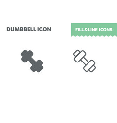dumbbell icon fill and line flat design vector image