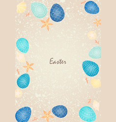 Easter egg with marine life frame on abstract sand vector