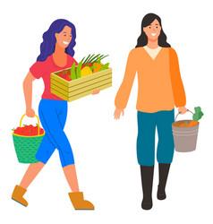 farming people harvesting farmers woman fruit vector image