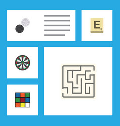 flat icon play set of chequer labyrinth mahjong vector image
