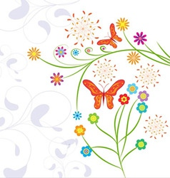 Funny background with butterflies vector image