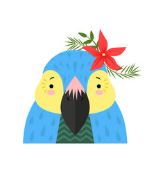 funny parrot with flowers on its head cute vector image