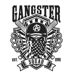 Gangster skull with crossed baseball bats emblem vector