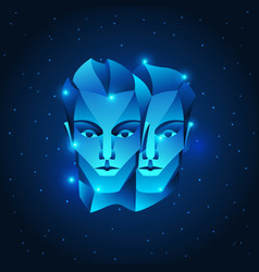 Gemini zodiac sign blue star horoscope symbol vector