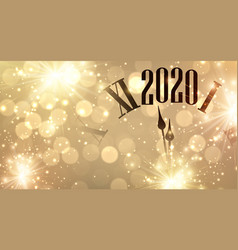 Gold bokeh new year 2020 background with clock and vector