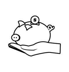 hand holding piggy coins money safe line vector image