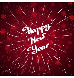 Hand-written Happy New Year with beam over red vector image