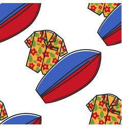 Hawaiian shirt and surfboard seamless pattern vector
