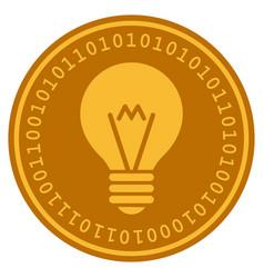 hint bulb digital coin vector image