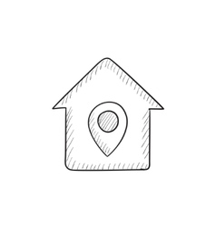 House with pointer sketch icon vector image