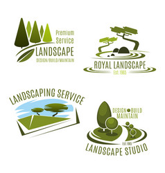 Icons gardening landscape design company vector