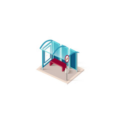 isometric blue bus station vector image