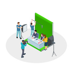 isometric shooting tv show tv hosts make vector image