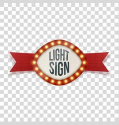 light sign with lamps in realistic style vector image