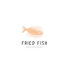 logo fried fish restaurant vector image