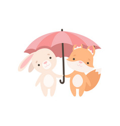 Lovely white little bunny and fox cub standing vector
