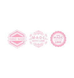 Made with love pink logo set badges labels tags vector