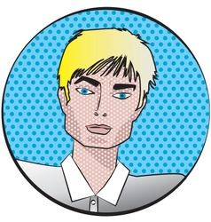 male face in pop art style vector image
